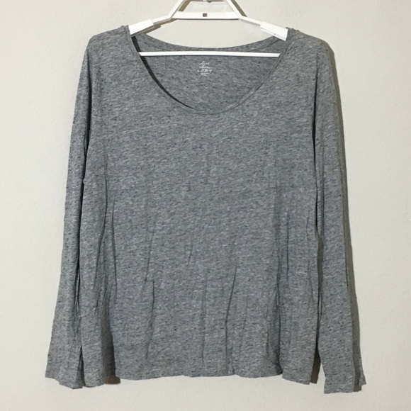 LOFT Tops - LOFT Scoop Neck Basic Long Sleeve TShirt Gray XL